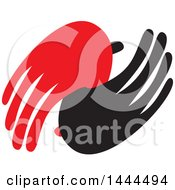 Clipart Of A Red And Black Hands Royalty Free Vector Illustration by ColorMagic
