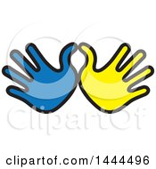 Clipart Of Blue And Yellow Hands Royalty Free Vector Illustration