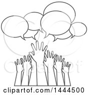 Poster, Art Print Of Group Of Grayscale Lineart Hands Reaching For Help Under Speech Bubbles