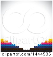 Clipart Of A Background Of Buildings Blocks Over Shading Royalty Free Vector Illustration by ColorMagic