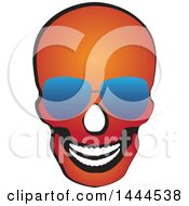Clipart Of A Red Skull Wearing Sunglasses Royalty Free Vector Illustration