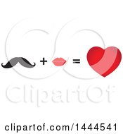 Clipart Of A Mustache Plus Lips Equals Love Heart Royalty Free Vector Illustration