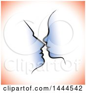 Clipart Of A Profiled Silhouetted Couples Faces With Red Shading Royalty Free Vector Illustration