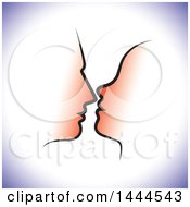 Clipart Of A Profiled Silhouetted Couples Faces With Purple Shading Royalty Free Vector Illustration
