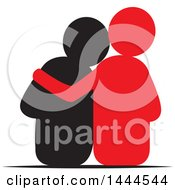 Clipart Of A Rear View Of A Supportive Couple Royalty Free Vector Illustration