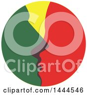 Clipart Of A Green And Red Couple Kissing In A Circle Royalty Free Vector Illustration by ColorMagic