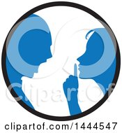 Poster, Art Print Of Blue Silhouetted Woman Shushing And Arguing With A Man Inside A Circle