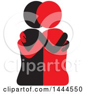 Clipart Of A Black And Red Female Couple Or Friends Embracing Royalty Free Vector Illustration