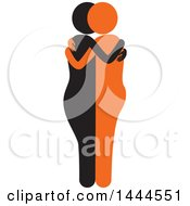 Clipart Of A Black And Orange Female Couple Or Friends Embracing Royalty Free Vector Illustration