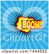 Clipart Of A Comic Styled Boom Explosion Balloon Over Blue Rays Royalty Free Vector Illustration