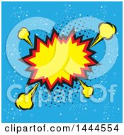 Clipart Of A Comic Styled Explosion Balloon Over Blue Royalty Free Vector Illustration