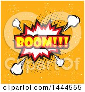 Clipart Of A Comic Styled BOOM Explosion Balloon Over Orange Royalty Free Vector Illustration