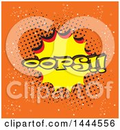 Clipart Of A Comic Styled Oops Explosion Balloon Over Orange Royalty Free Vector Illustration