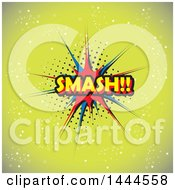 Clipart Of A Comic Styled SMASH Balloon Over Green Royalty Free Vector Illustration by ColorMagic