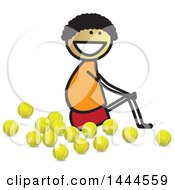 Clipart Of A Stick Boy Sitting With Tennis Balls Royalty Free Vector Illustration