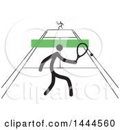 Clipart Of Stick Men Playing Tennis Royalty Free Vector Illustration