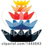 Clipart Of A Colorful Stacked Lotus Flower Logo Design Royalty Free Vector Illustration