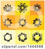 Black Floral Symbol Icons