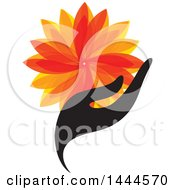 Clipart Of A Hand Holding An Orange Flower Or Leaves Royalty Free Vector Illustration