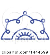 Clipart Of A Halved Blue Flower Design Royalty Free Vector Illustration