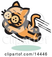 Happy Cat Running And Jumping Through The Air Clipart Illustration