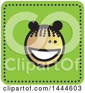 Clipart Of A Black Stick Girl Avatar Face Icon Royalty Free Vector Illustration by ColorMagic