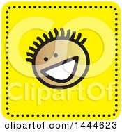 Clipart Of A Stick Boy Avatar Face Icon Royalty Free Vector Illustration