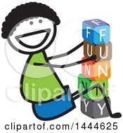 Poster, Art Print Of Happy Stick Boy Playing With Letter Blocks And Spelling Out Funny