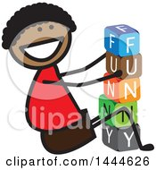 Clipart Of A Happy Black Stick Boy Playing With Letter Blocks And Spelling Out Funny Royalty Free Vector Illustration