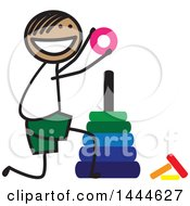 Poster, Art Print Of Happy Stick Boy Stacking Rings