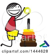 Clipart Of A Happy Stick Boy Stacking Rings Royalty Free Vector Illustration