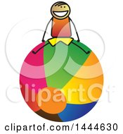Clipart Of A Stick Boy Sitting On A Giant Ball Royalty Free Vector Illustration