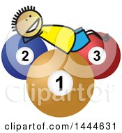 Clipart Of A Stick Boy Laying On Giant Billiards Balls Royalty Free Vector Illustration