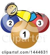Poster, Art Print Of Stick Boy Laying On Giant Billiards Balls
