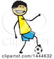 Clipart Of A Stick Boy Playing Soccer Royalty Free Vector Illustration