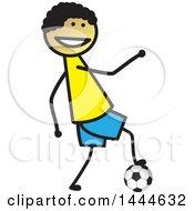 Poster, Art Print Of Stick Boy Playing Soccer