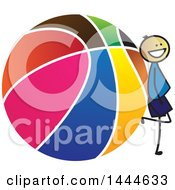 Clipart Of A Stick Boy Sitting Leaning Against A Giant Basketball Royalty Free Vector Illustration