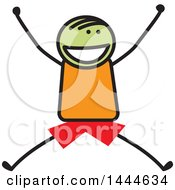 Clipart Of A Stick Boy Jumping Royalty Free Vector Illustration