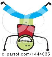 Clipart Of A Stick Boy Doing A Head Stand Royalty Free Vector Illustration