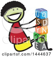 Clipart Of A Stick Boy Stacking Letter Blocks Royalty Free Vector Illustration