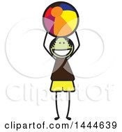 Clipart Of A Stick Boy Throwing A Beach Ball Royalty Free Vector Illustration