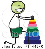 Clipart Of A Stick Boy Stacking Rings Royalty Free Vector Illustration