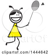 Clipart Of A Stick Girl Playing Badminton Royalty Free Vector Illustration by ColorMagic