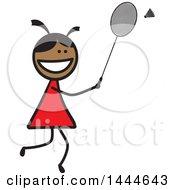 Poster, Art Print Of Stick Girl Playing Badminton