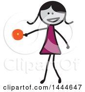 Poster, Art Print Of Stick Girl Playing Ping Pong