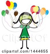 Poster, Art Print Of Stick Girl With Balloons