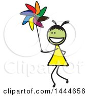 Clipart Of A Stick Girl Playing With A Pinwheel Royalty Free Vector Illustration by ColorMagic