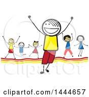 Group Of Stick Children Cheering
