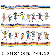 Clipart Of A Background With Groups Of Stick Children Holding Hands And Cheering Royalty Free Vector Illustration