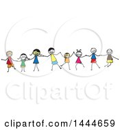 Clipart Of A Group Of Stick Children Holding Hands Royalty Free Vector Illustration